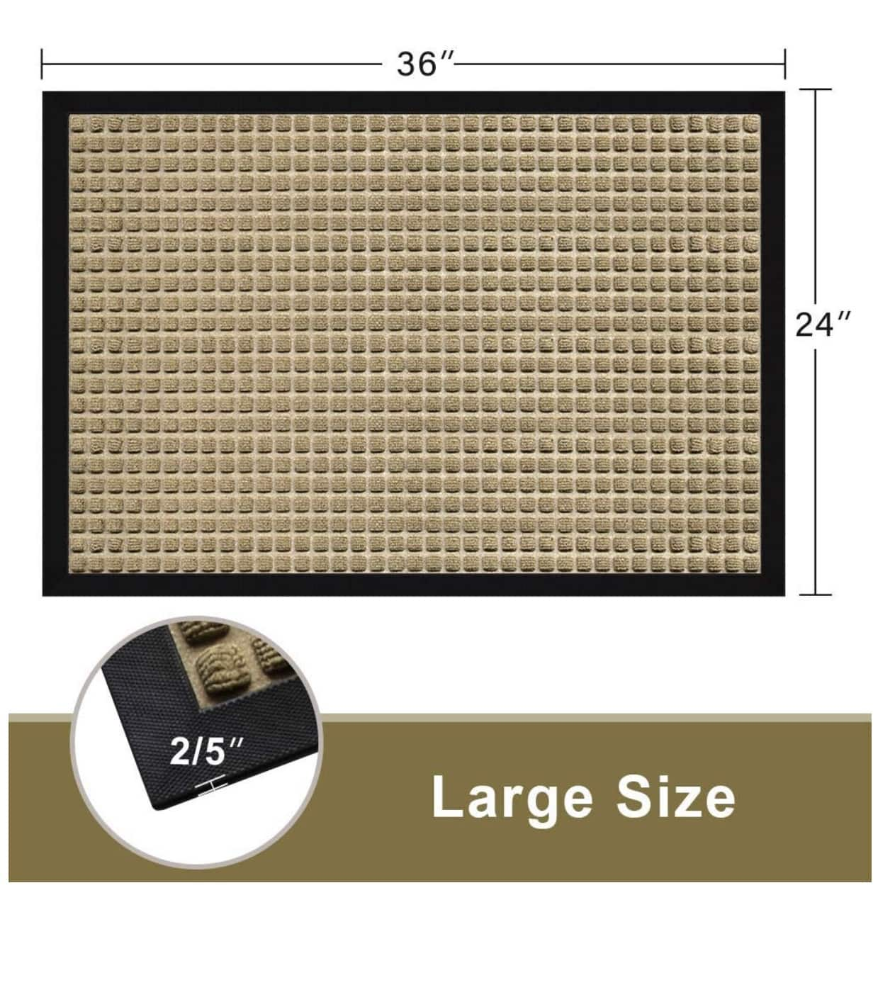 Amagabeli Large Outdoor Waterproof Rubber Door Mat 36X24 $16.49 AC