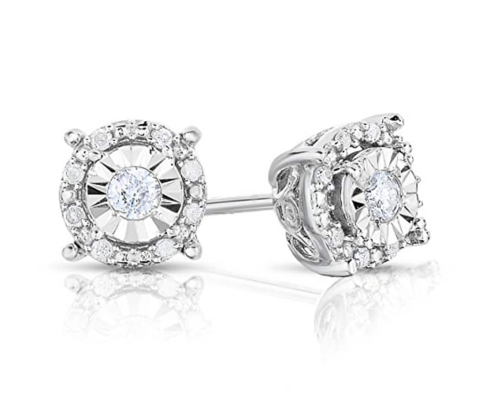 Columbus Day Special Deal - Sterling Silver Ornate Design Round White Diamond Stud Earrings - 1/4 cttw - $47.99 + Free Shipping