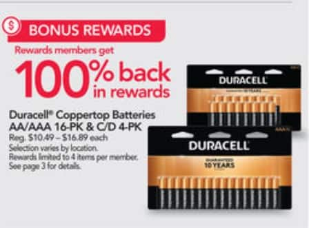 1/5/20-1/11/20 100% Back in Rewards on Duracell® Coppertop Batteries AA/AAA 16-PK & C/D 4-PK at Office Depot/OfficeMax (limit 4) $10.49 – $16.89 each