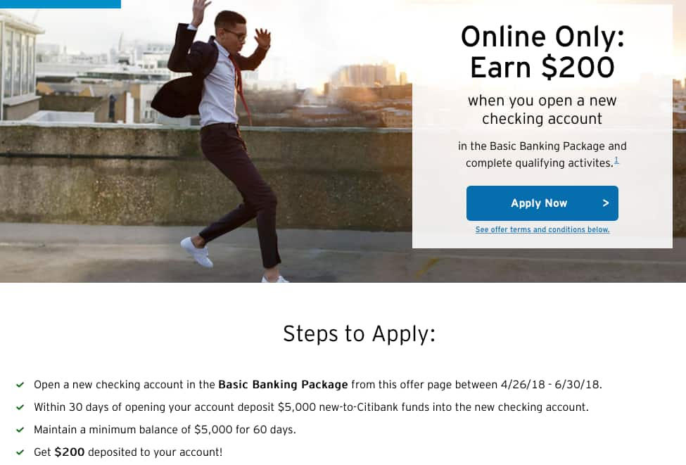 $200 Bonus for opening Citi Checking account. (Keeping min. bal. of $5000)