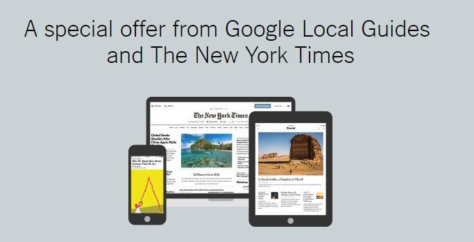 Google Local Guides Get Free Access to The New York Times (3 months)