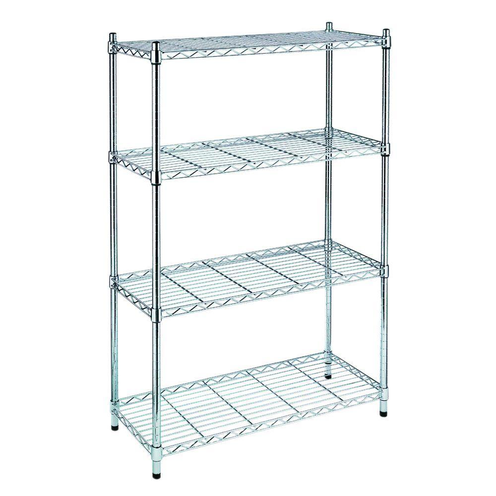 HDX 54 in. H x 36 in. W x 14 in. D 4 Shelf Wire Unit in Chrome $29.97