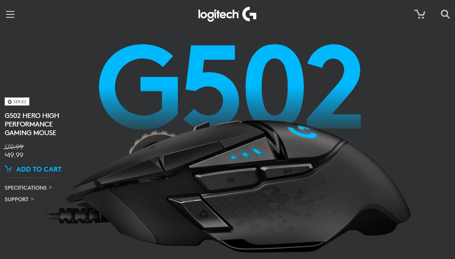 G502 HERO wired $34.99 (AC, YMMV)