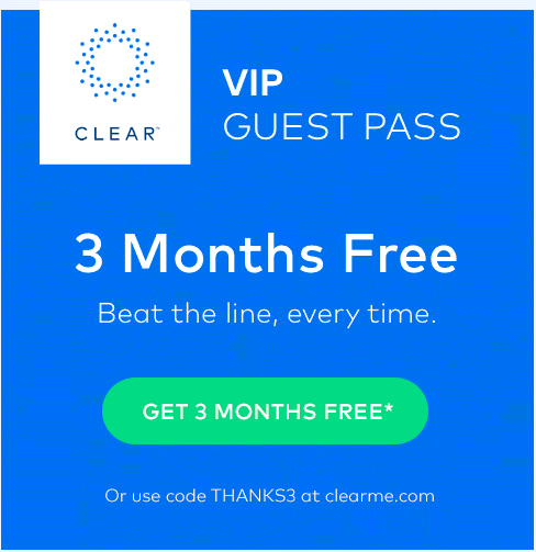 3 Month Free Trial of CLEAR - Expedited Airport/Event Screening