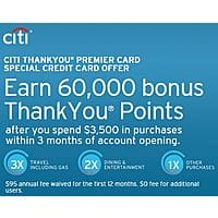 Citi Deal: Citi ThankYou Premier 60k after 3.5K spending in 3 months