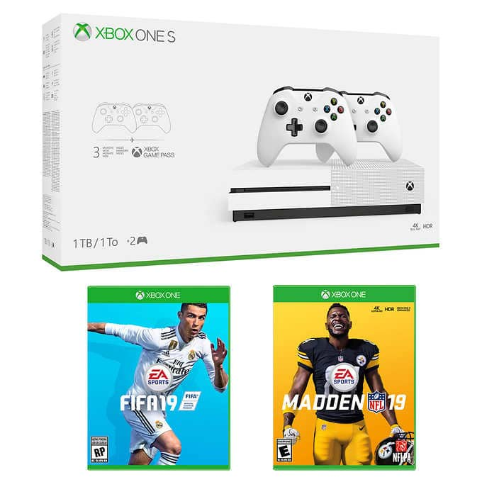 Costco : Xbox One S 1TB Bundle with 2 Controllers, Madden 19, FIFA 19 and 3 Month Xbox Game Pass $249.99