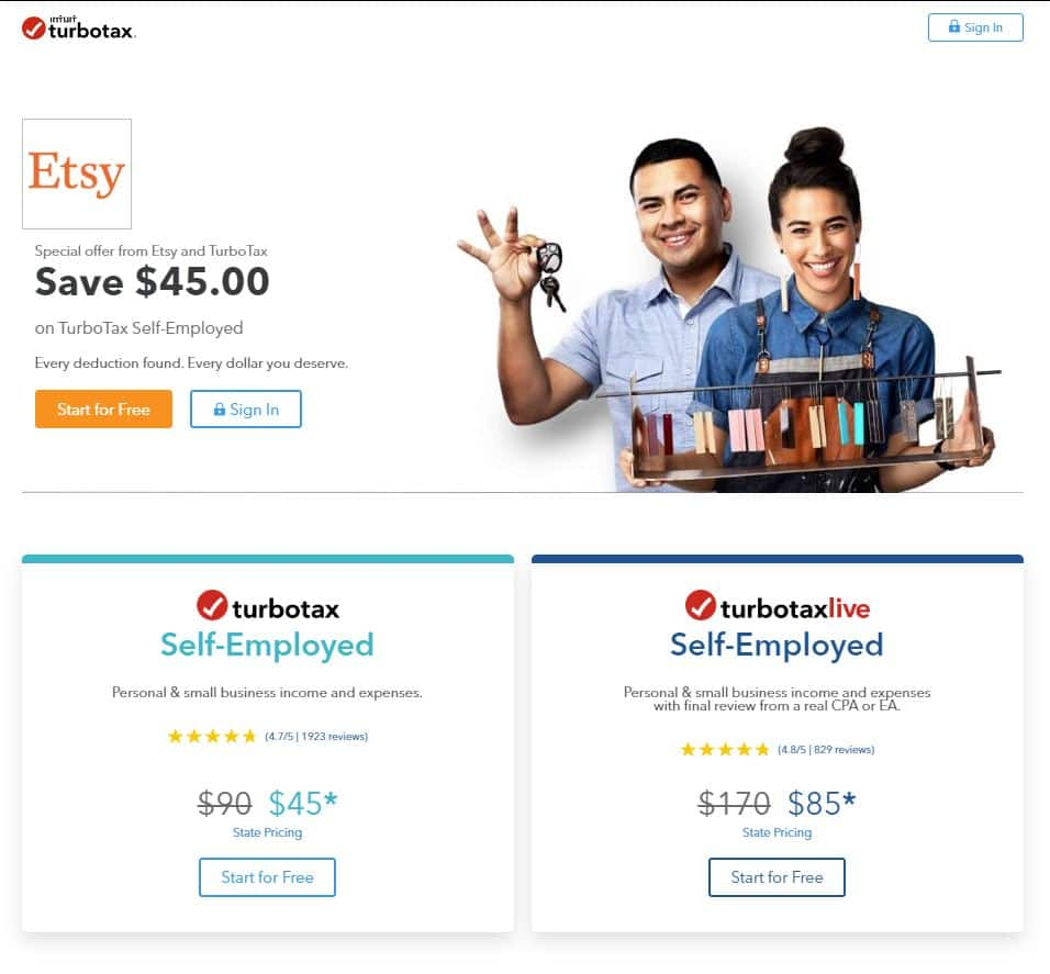 YMMV - 50% off TurboTax Self-Employed or TurboTax Live Self-Employed for Etsy Sellers