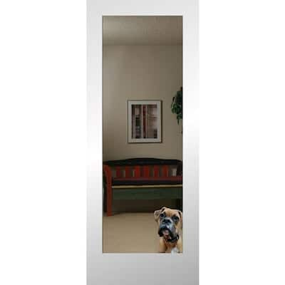 YMMV ReliaBilt Reflections 28-in x 80-in Primed White Mirror/Panel Mirrored Glass MDF Slab Door - Clearance 50% off - $95