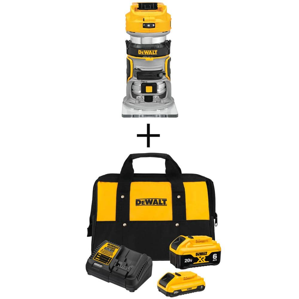 20-Volt MAX XR Cordless Compact Router and 20-Volt MAX XR Starter Kit (1) 6.0Ah Battery & (1) 4.0Ah Battery | $199.00
