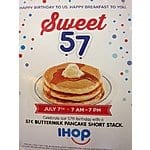 IHOP Restaurants Celebrate Anniversary on 7/7/15 7AM to 7 PM - .57 Cents