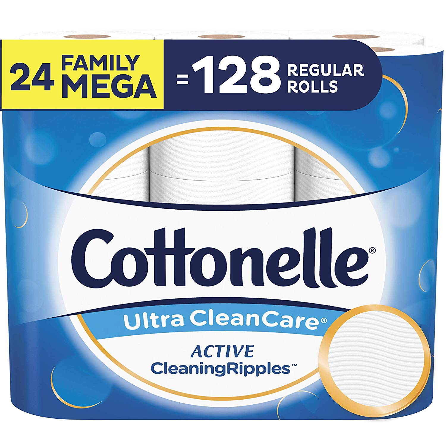 Cottonelle Ultra CleanCare Toilet Paper, with Active CleaningRipples, 24 Family Mega Rolls - In-Stock $25.18
