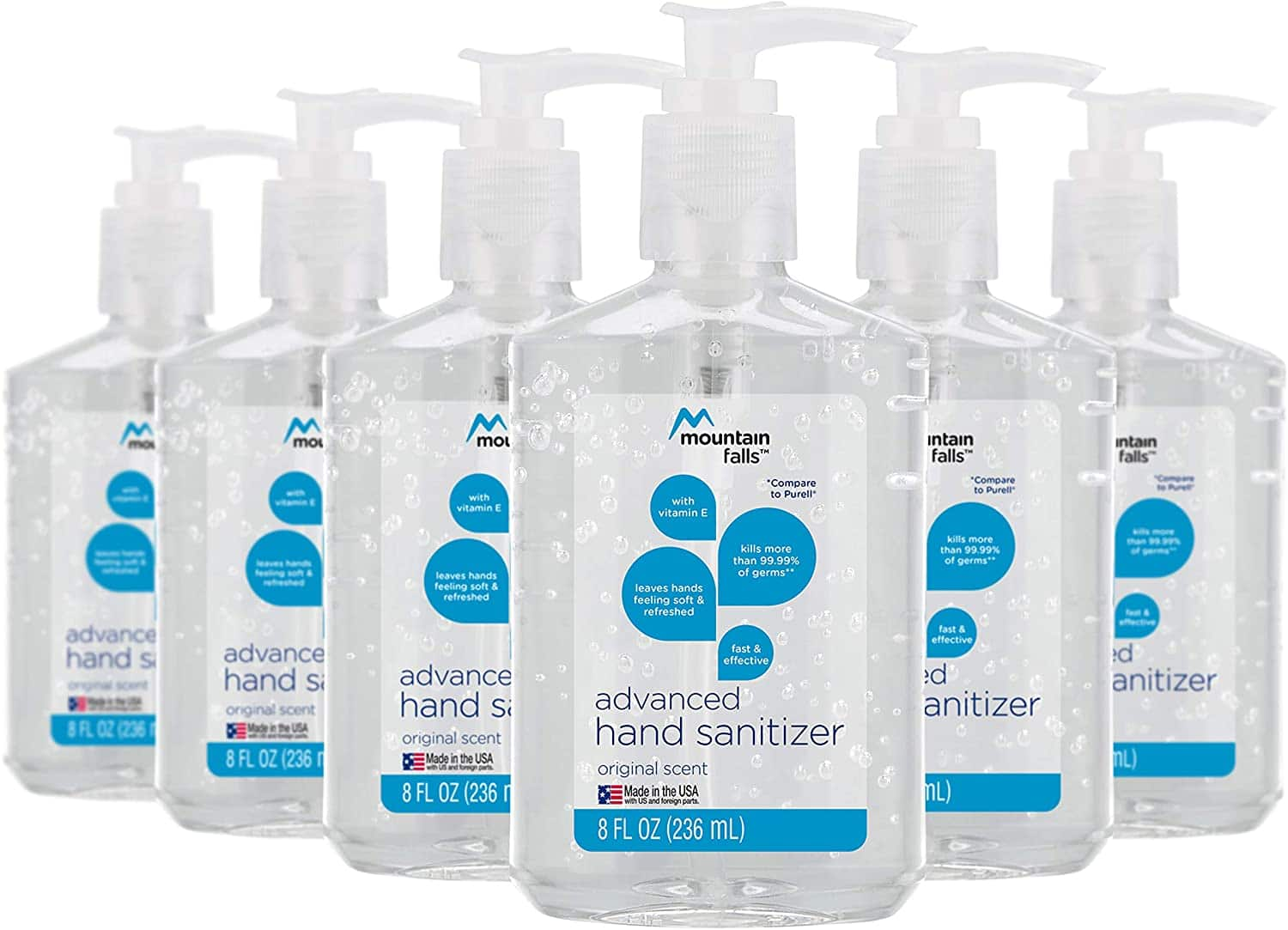 Mountain Falls Advanced Hand Sanitizer with Vitamin E, Original Scent, Pump Bottle, 8 Fluid Ounce (Pack of 6) $11.94