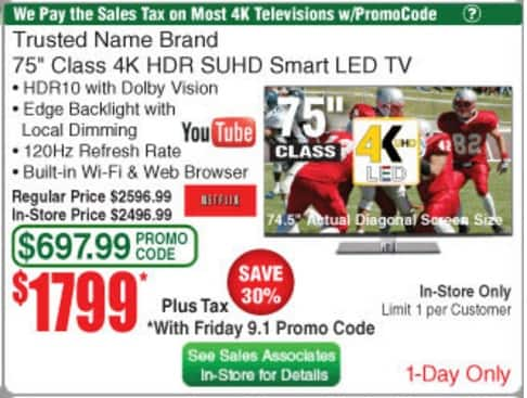 LG 75SJ8570 75 inch 4K tv at Frys in store only for $1799 with today's promo code but Fry's weaseled out of paying the sales tax as the ad implies.