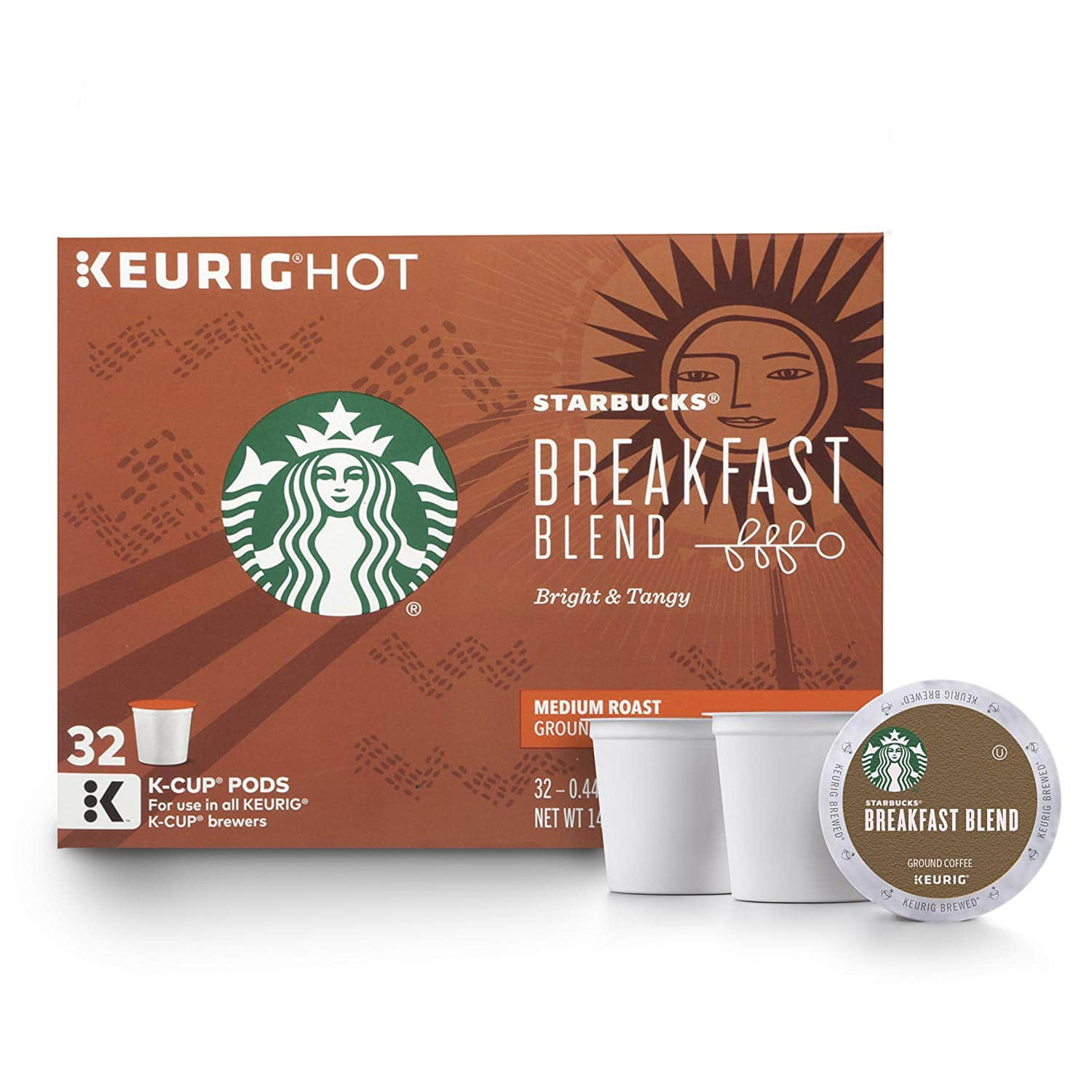 32-Count Starbucks Medium Roast K-Cup Coffee Pods (Breakfast Blend) $3.80 w/ S&S + Free S&H