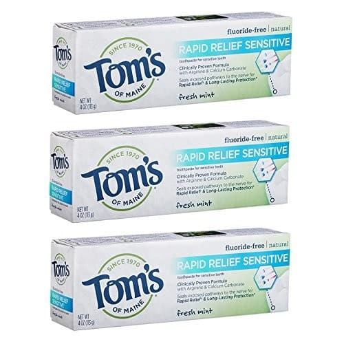 Tom's of Maine, Natural Rapid Relief Sensitive Toothpaste Fresh Mint, 4 Ounce, 3-Pack $2.49 or less @ Amazon