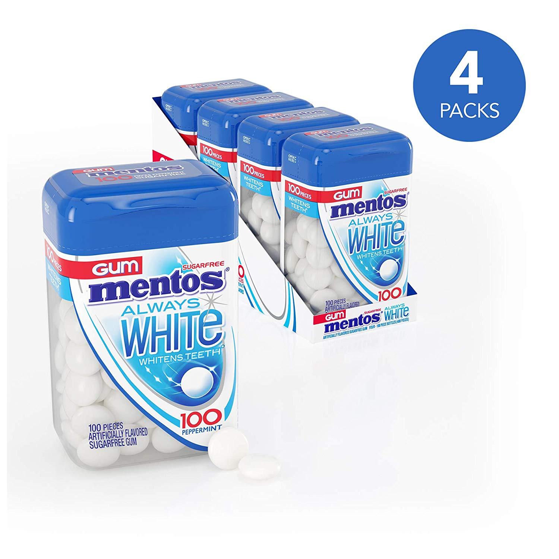 4-Pack 100-Piece Mentos Always White Sugar Free Chewing Gum