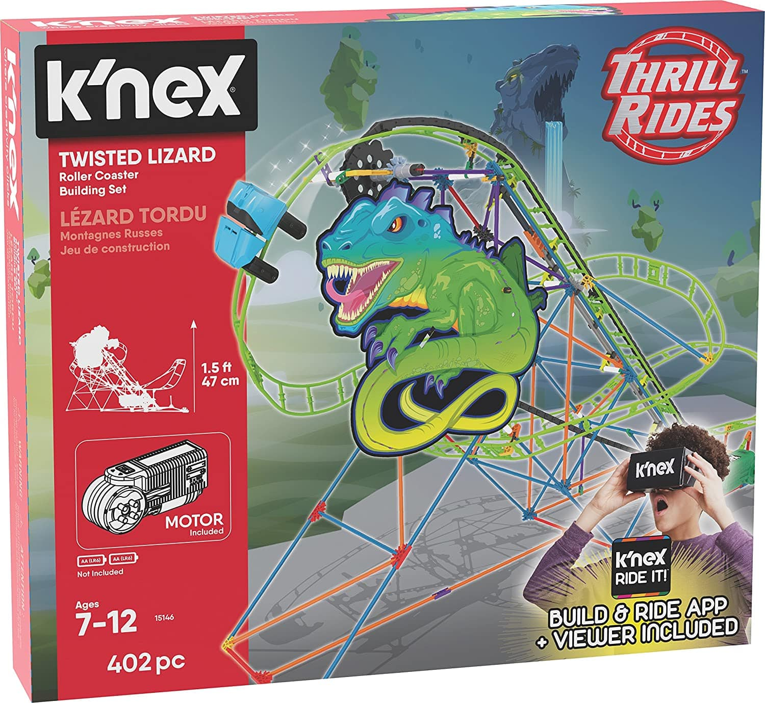 K'NEX Thrill Rides – Twisted Lizard Roller Coaster Building Set with Ride It! App – 402 Piece $9.78 @Amazon