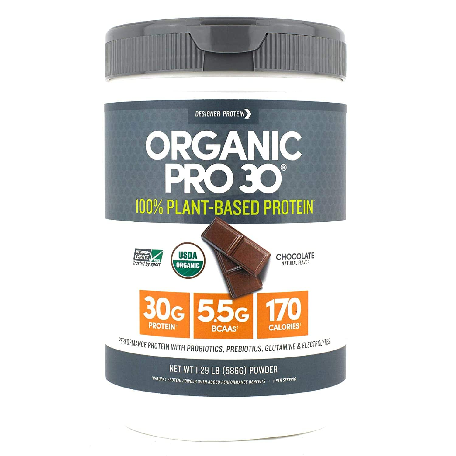 Designer Protein Organic Pro 30, Chocolate, 1.29 Lb, 100% Plant Based Protein Powder $12.10 @Walmart or less @Amazon