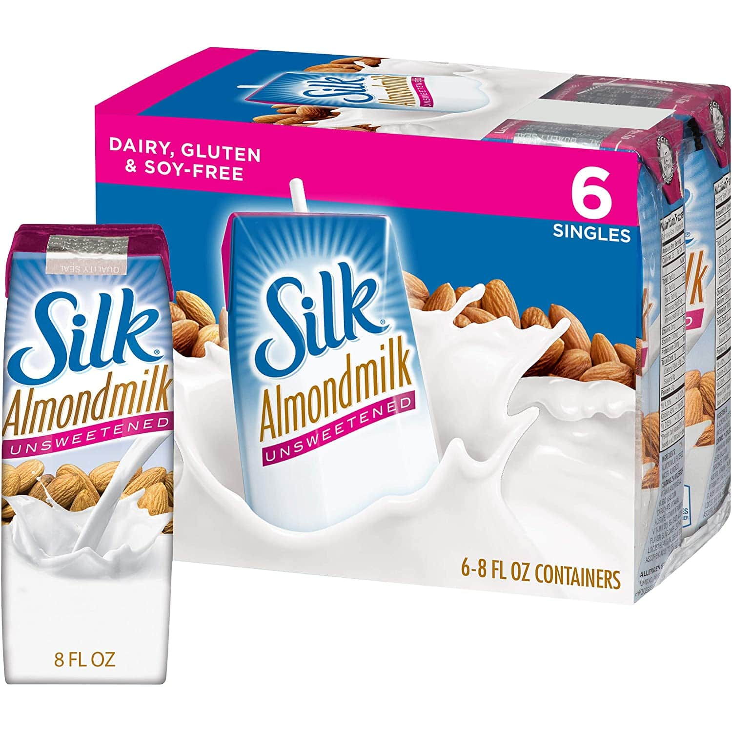 Silk Almond Milk Unsweetened 8 oz 6 Count (Pack of 3) $8.13 or less @Amazon