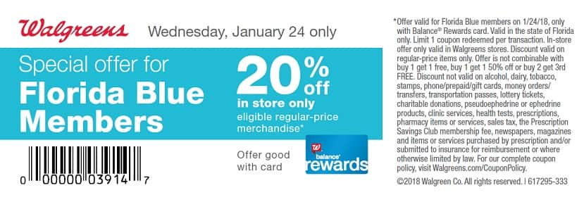 Florida Blue Members: 20% off at Walgreens In-Store on 1/24