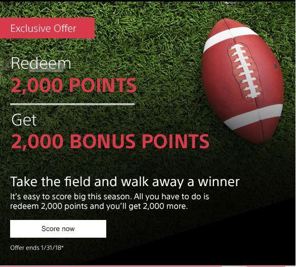 Sony Rewards - Redeem 2000 Points, Get 2000 Points - Targeted