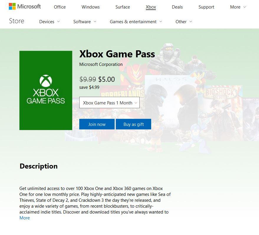 Xbox Game Pass - $5/Month YMMV