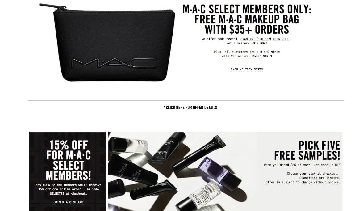 MAC Cosmetics 15% Off Order + Free Shipping, Spend $35 Get Free Cosmetics Bag + 5 Free Minis