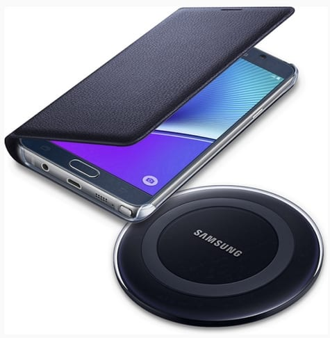 Samsung Pay Free Wireless Charger or Wallet Flip Cover for Note 5 and S6 Edge+