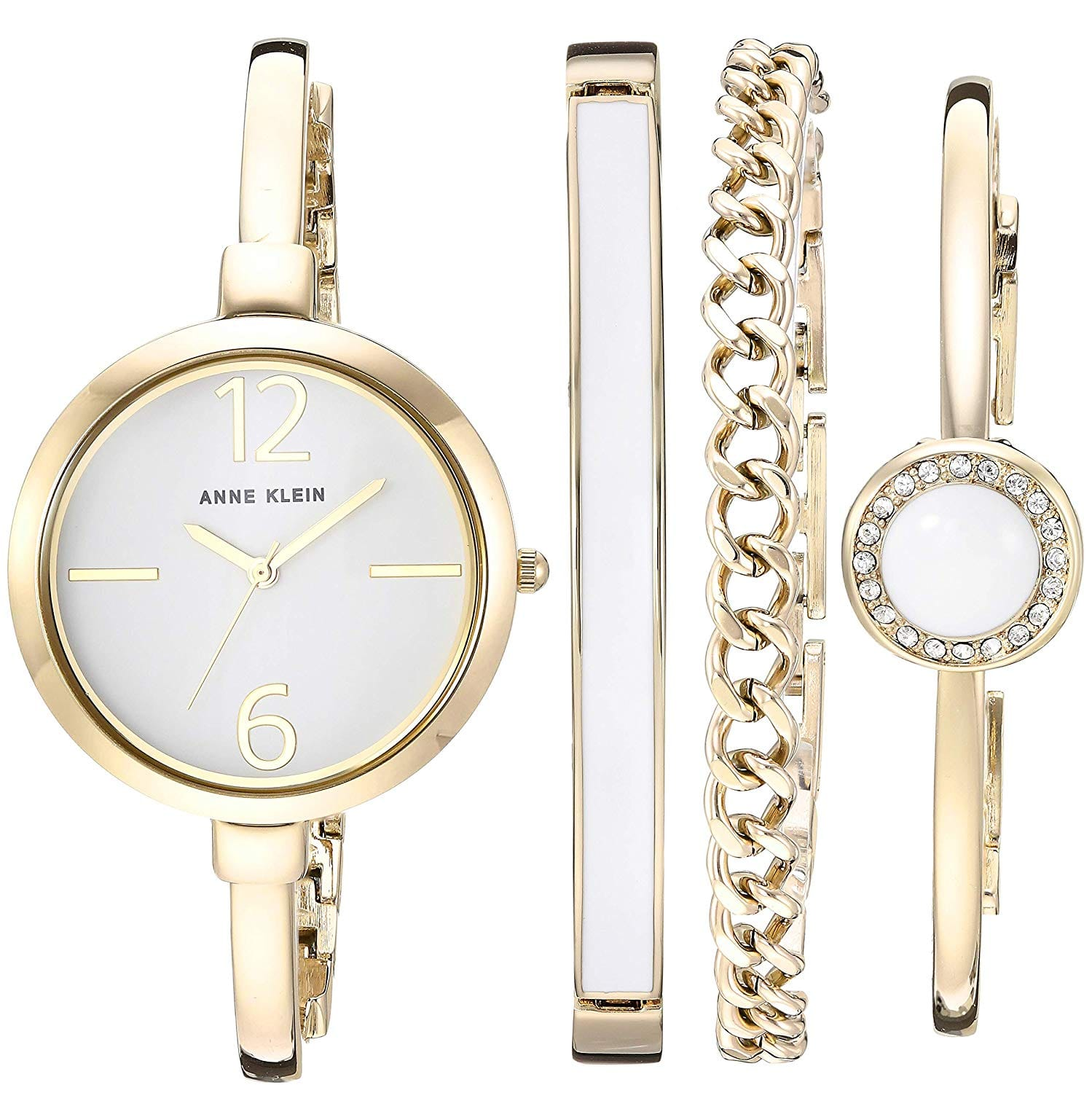 9deff83fc8b Anne Klein Women s AK 3290 Bangle Watch and Swarovski Crystal Accented Bracelet  Set  49.99