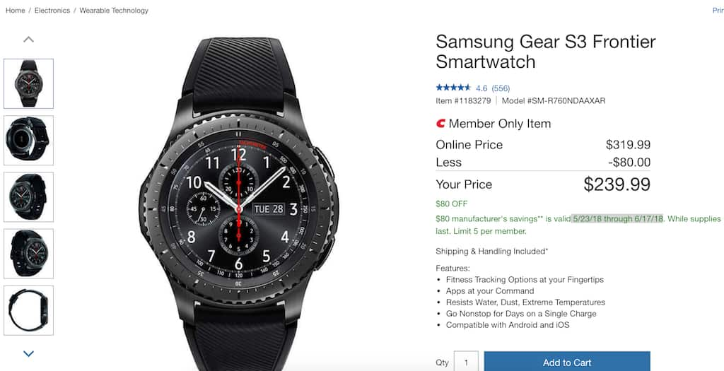 Samsung Gear S3 Frontier Smartwatch for $240 $239.99