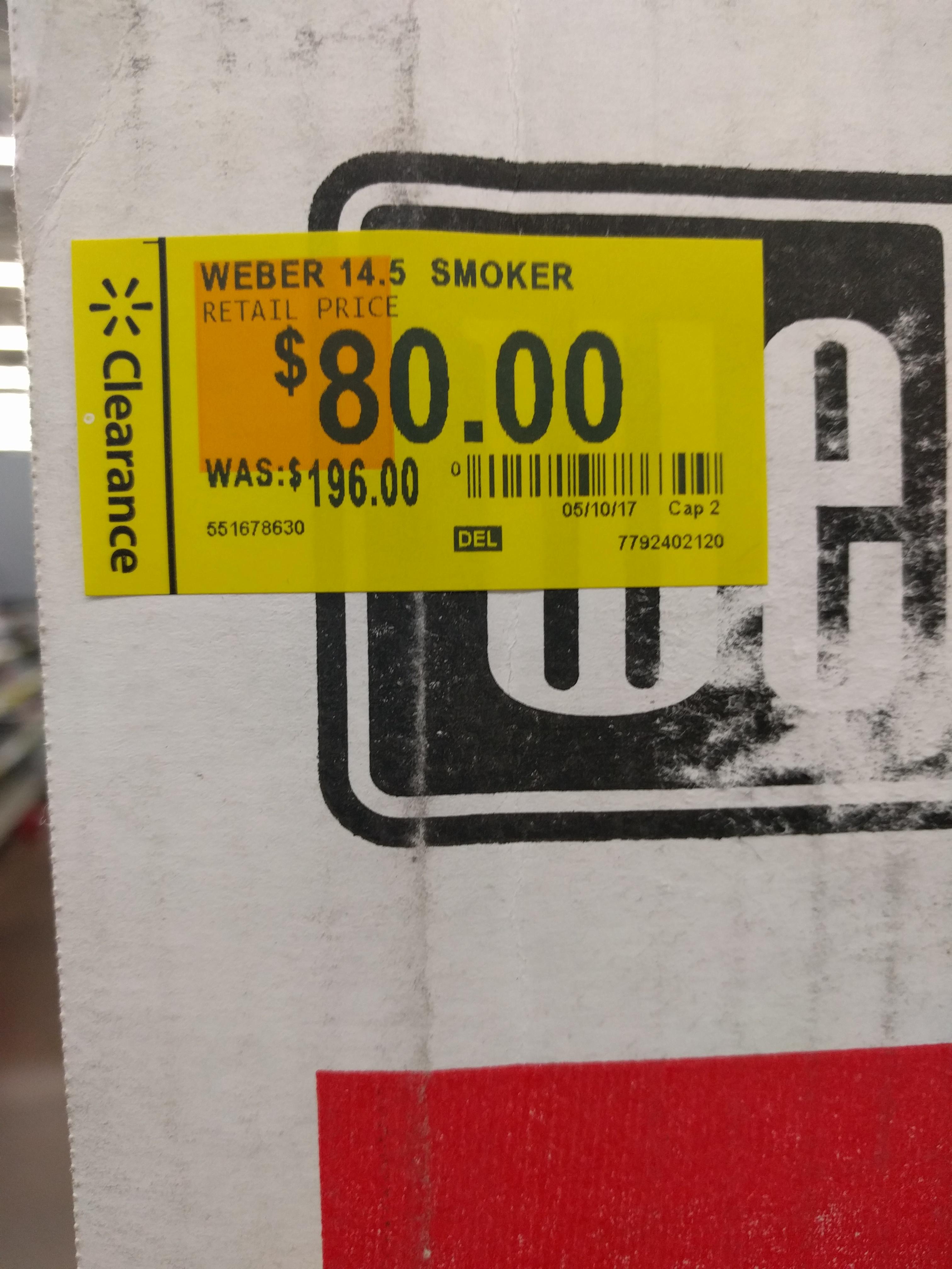 "Weber smokey mountain smoker 14.5"" at Walmart b&m for $80 YMMV"