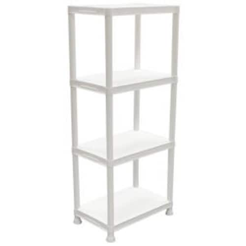 Home Depot HDX 4-Shelf 14 in. D x 22 in. W x 52 in. H White Plastic Storage Shelving Unit BM YMMZ $4.50