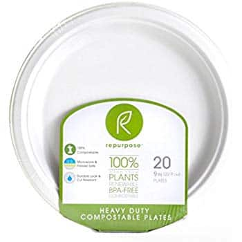 Repurpose 100% Compostable Plant-Based Bagasse Plates, 9 Inch (Pack - 12) $10.55