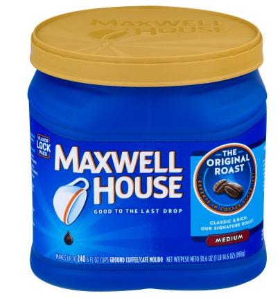Maxwell House Original Medium Roast Ground Coffee, 30.6 oz $8.17@walmart. $8.16