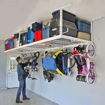 SafeRacks Overhead Garage Storage Combo Kit, Two 4 ft. x 8 ft. Racks, 18-piece Deluxe Hook Accessory Pack. Costco.com $250