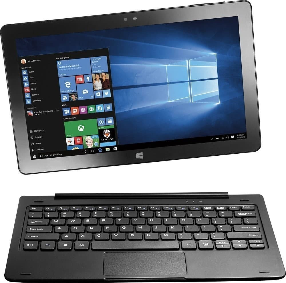 "Refurbished Insignia Flex 32GB 11.6"" Full HD (1080p) 2-In-1 Touchscreen Windows 10 Laptop Tablet & Keyboard (2gb ram, x5 z8300 cpu) $79.95"