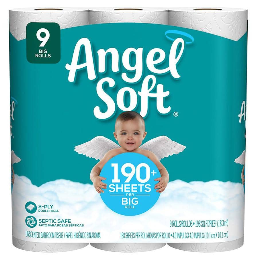 Angel Soft Bathroom Tissue 9 Big Rolls $1.99