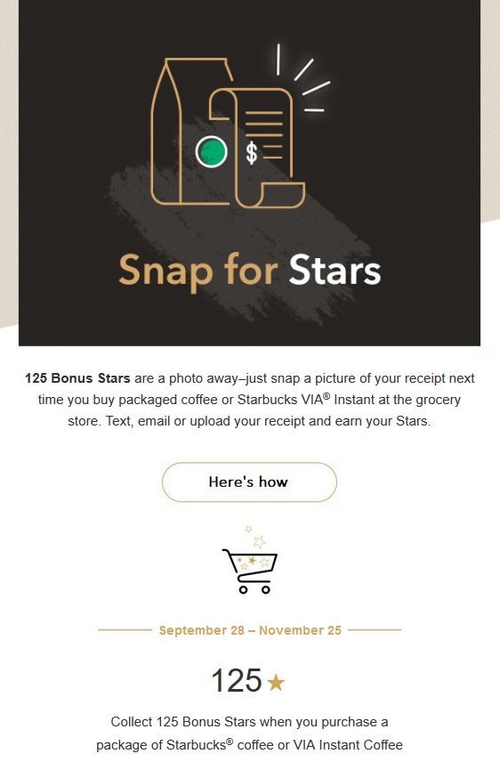 Starbucks 200 Bonus Stars Take A Picture Of Reciept For