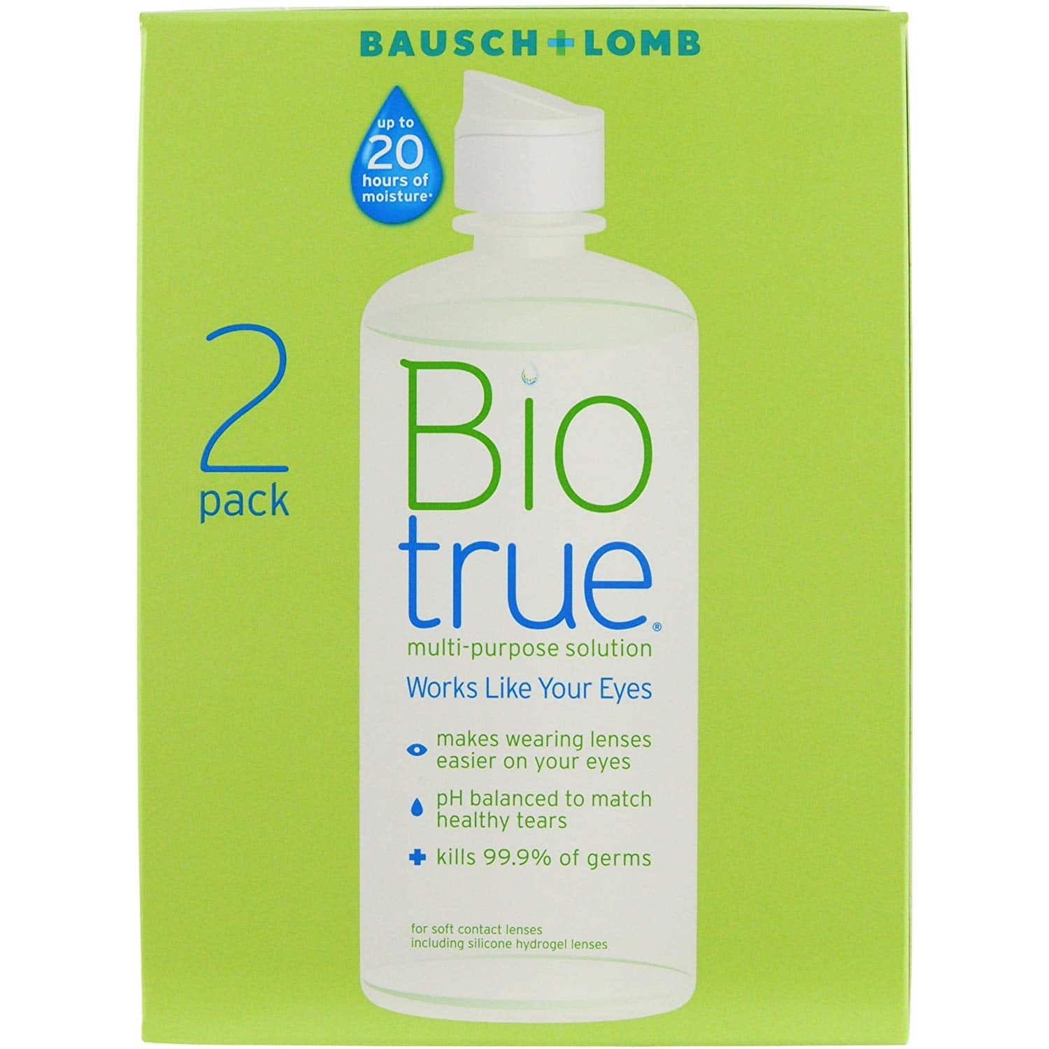 Select Amazon Accounts: 2 pack 10 oz Biotrue Contact Solution $10.18 or less + FS with S&S