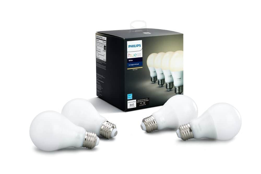 Philips Hue White A19 4-Pack 60W Equivalent Dimmable LED Smart Bulb $49.97