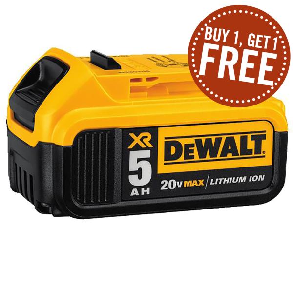 BOGO DEWALT - 20V MAX* Premium XR 5.0Ah Lithium Ion Battery Pack DCB205 $125.99