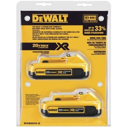 Dewalt 20 Volt 2ah Max Compact Xr Lithium Ion, 2 Pack $79