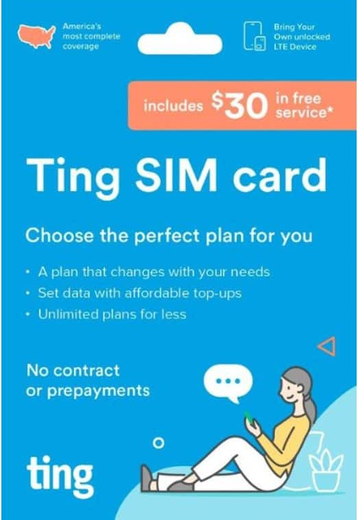 Ting SIM card with $30 credit (new customer only) $0.99 at Best Buy
