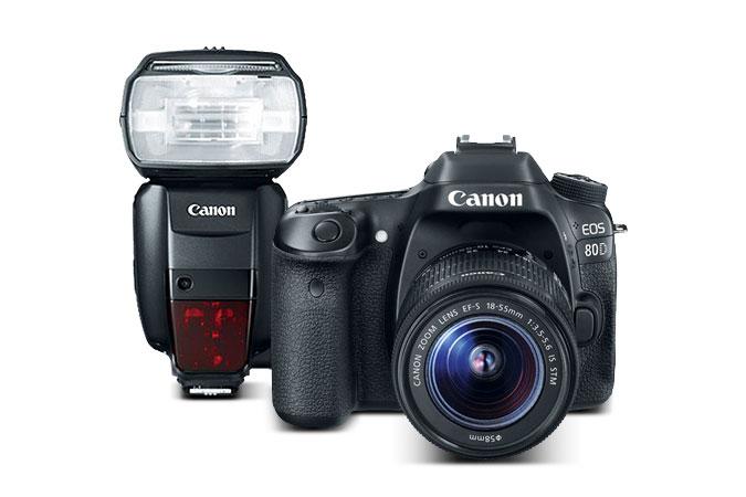 Refurbished EOS 80D 18-55mm + Speedlite 600EX-RT $999