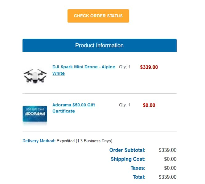 DJI Spark Mini Drone - Alpine White $339 + $50.00 Gift card added at the checkout.