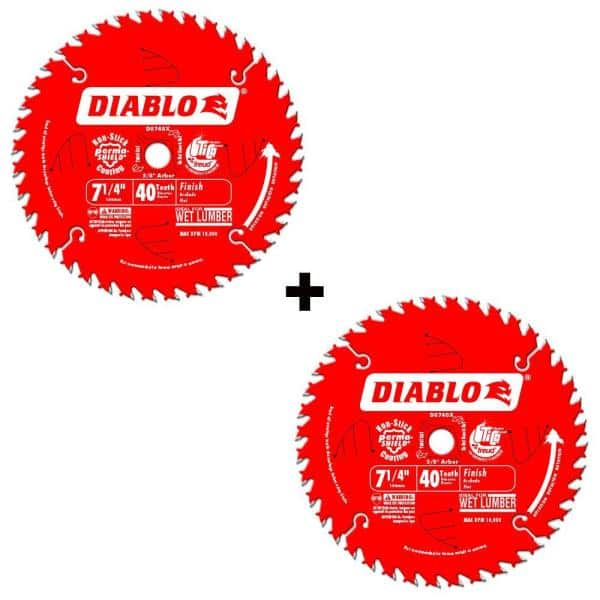 Diablo 7-1/4 in. x 40-Tooth Finish Saw Blade (2-Pack) at Home Depot $15