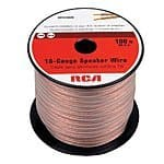 Amazon RCA 16 gauge Speaker Wire, 100ft spool, $9.34 plus free shipping with prime.
