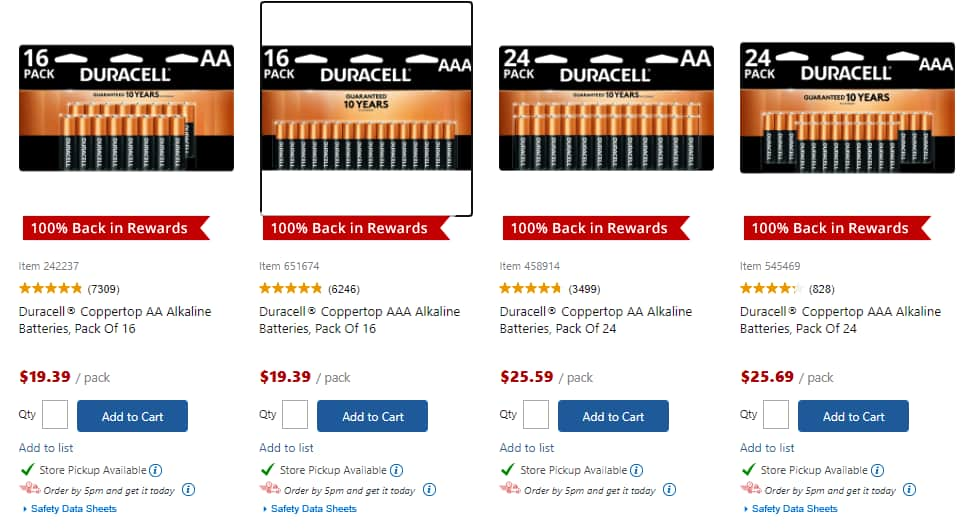 Duracell 16-Pack AA/AAA or 24-Pack AA/AAA Batteries + 100% Back in Rewards @ OfficeDepot