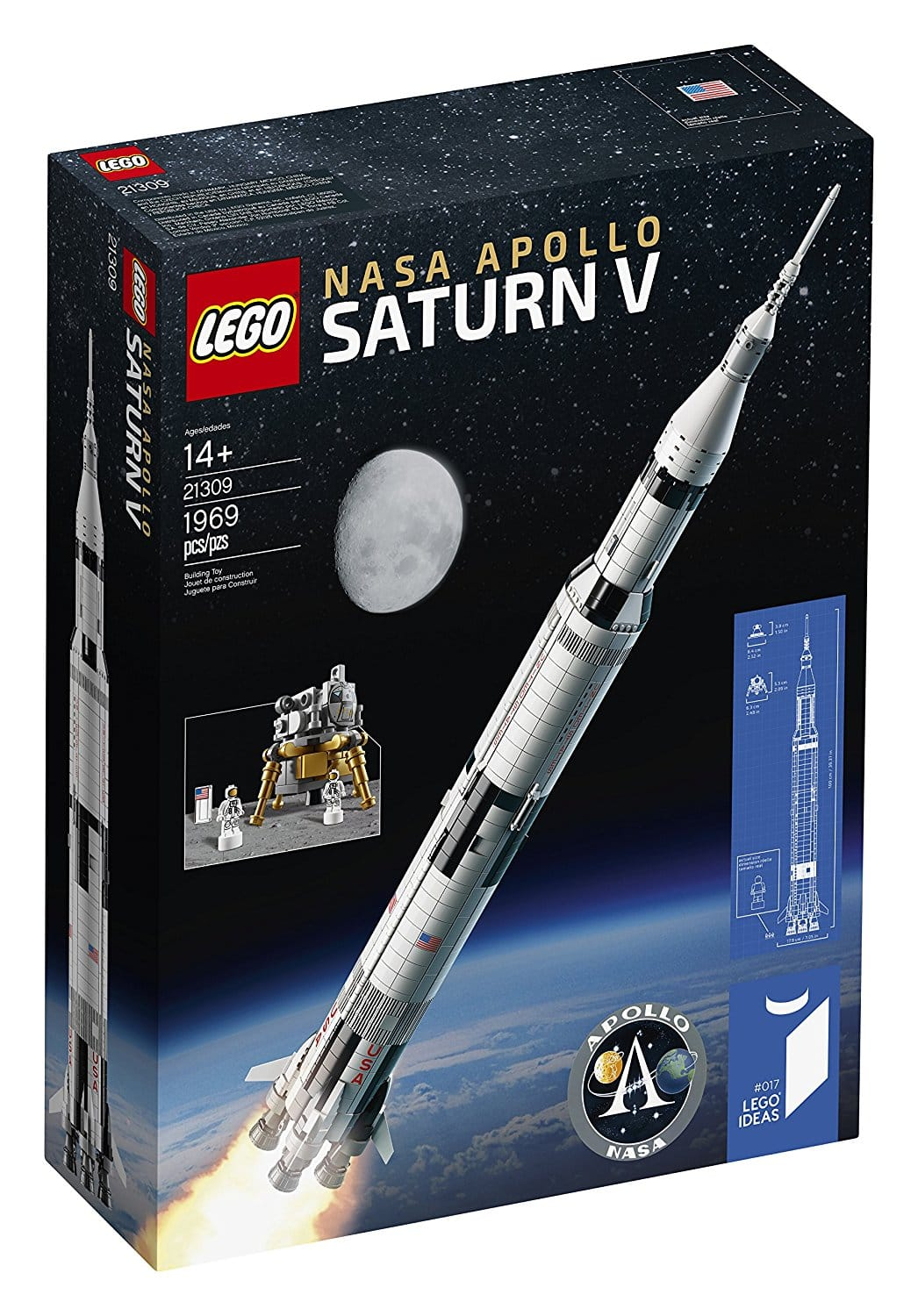 LEGO Ideas Nasa Apollo Saturn V 21309 Building Kit $120