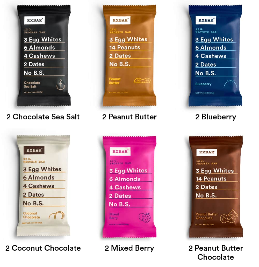 12-Pack of 1.83oz RxBar Whole Food Protein Bars (Sample Pack) $12 + Free S/H (New Customers)